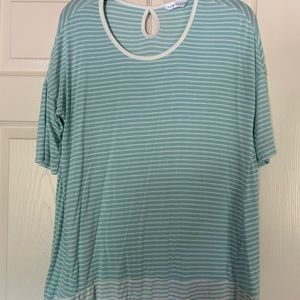 Turquoise and white striped Downeast shirt